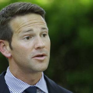Rep. Aaron Schock, R-Ill, is seen speaking at the Illinois Governor's Mansion Thursday, June 14, 2012  Springfield, Ill. (AP Photo/Seth Perlman)