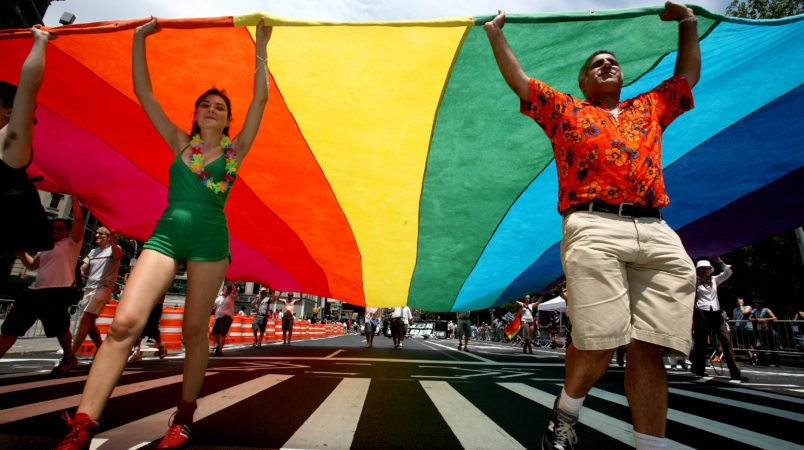 at the Gay Pride Parade along 5th Ave. in New York, NY Sunday, June 29, 2008.(AP Photo/Craig Ruttle)