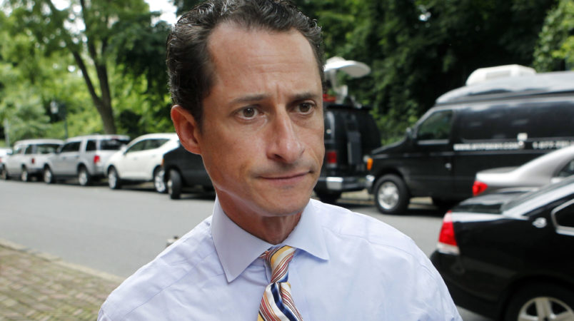 U.S. Rep. Anthony Weiner, D-N.Y., returns to his Forest Hills home after a news conference during which he annouced his intention to resign, Thursday, June 16, 2011, in the Queens borough of New York. Weiner has decided to resign his seat in Congress after a two-week scandal spawned by lewd photos the New York lawmaker took of himself and sent online to numerous women. (AP Photo/Jason DeCrow)