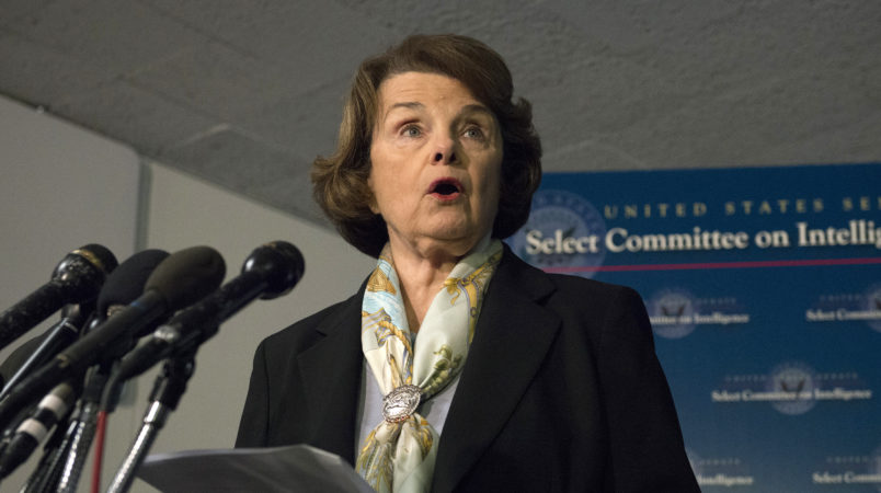 Senate Intelligence Committee Chair Sen. Dianne Feinstein, D-Calif. speaks after a closed-door meeting on Capitol Hill in Washington, Thursday, April 3, 2014, as the panel votes to approve declassifying part of a secret report on Bush-era interrogations of terrorism suspects puts the onus on the CIA and a reluctant White House to speed the release of one of the most definitive accounts about the government's actions after the 9/11 attacks. Members of the intelligence community raised concerns that the committee failed to interview top spy agency officials who had authorized or supervised the brutal interrogations.  (AP Photo/Molly Riley)