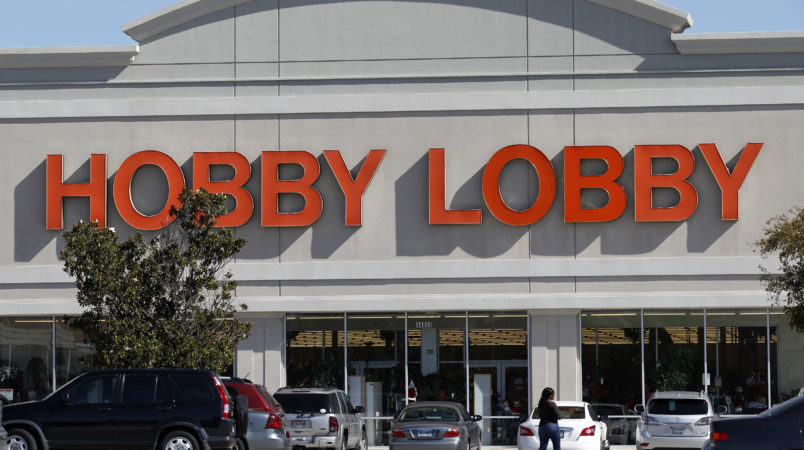 Customers walk into a Hobby Lobby Thursday, Nov. 1, 2012, in Dallas. An arts and craft supply chain that wants to block enforcement of part of a new health care law that requires employers to cover insurance costs for the morning-after pill and the week-after pill is heading to court. (AP Photo/Tony Gutierrez)