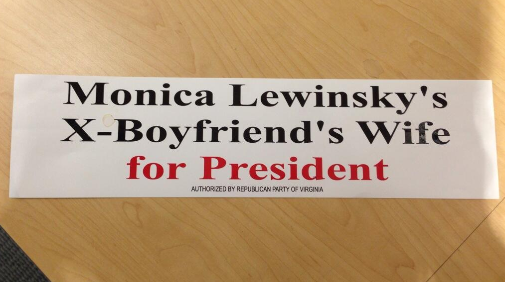 Woman Finds Stack Of Anti-Hillary 'Lewinsky' Bumper