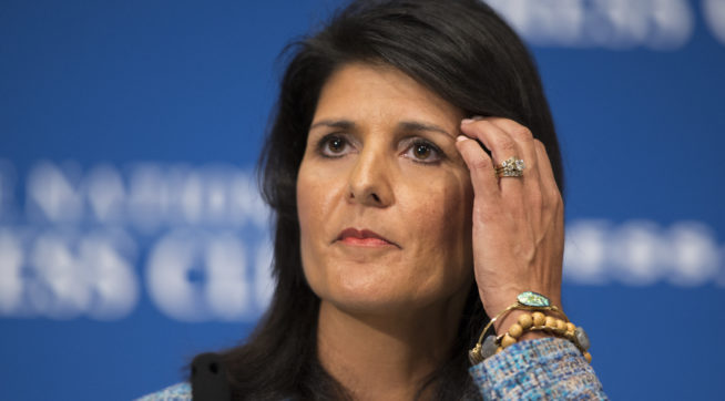 """Gov. Nikki Haley, R- S.C., delivers a speech on """"Lessons from the New South"""" during a luncheon at the National Press Club, on Wednesday, Sept. 2, 2015, in Washington. (AP Photo/Evan Vucci)"""
