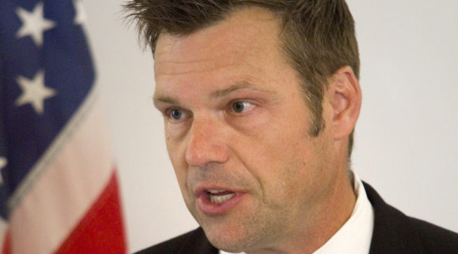photo image Kobach Pitched Rolling Back Voting Rights Law Day After Trump's Election