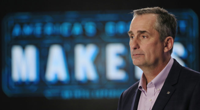 "In this Tuesday, March 1, 2016, photo, Intel CEO Brian Krzanich appears on set of ""America's Greatest Makers,"" a new reality TV challenge where teams of makers invent game-changing technology all for a chance at a $1 million prize at the Saticoy Studios in the Van Nuys neighborhood of Los Angeles. Krzanich believes the market for connected devices will grow immensely, from the roughly 6 billion smartphones today to some 50 billion smart devices by the end of the decade. The show, he hopes, will help his company's bottom line and electrify the entrepreneurial spirit of technology buffs. (AP Photo/Damian Dovarganes)"