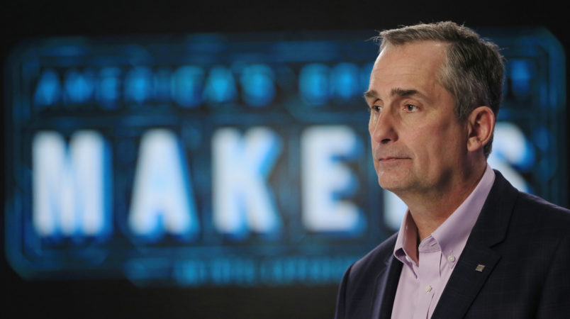 """In this Tuesday, March 1, 2016, photo, Intel CEO Brian Krzanich appears on set of """"America's Greatest Makers,"""" a new reality TV challenge where teams of makers invent game-changing technology all for a chance at a $1 million prize at the Saticoy Studios in the Van Nuys neighborhood of Los Angeles. Krzanich believes the market for connected devices will grow immensely, from the roughly 6 billion smartphones today to some 50 billion smart devices by the end of the decade. The show, he hopes, will help his company's bottom line and electrify the entrepreneurial spirit of technology buffs. (AP Photo/Damian Dovarganes)"""