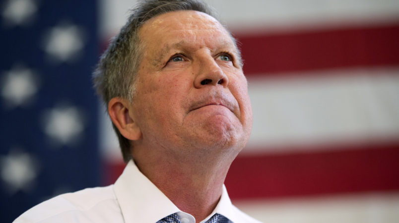 Republican presidential candidate, Ohio Gov. John Kasich, speaks during a town hall at Thomas farms Community Center Monday, April 25, 2016, in Rockville, Md. (AP Photo/Evan Vucci)