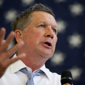 Republican presidential candidate, Ohio Gov. John Kasich, speaks during a town hall at Thomas farms Community Center , on Monday, April 25, 2016, in Rockville, Md. (AP Photo/Evan Vucci)