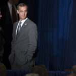 Corey Lewandowski, campaign manager for Republican presidential candidate Donald Trump, waits before the start of a foreign policy speech at the Mayflower Hotel in Washington, Wednesday, April 27, 2016. Trump's highly anticipated foreign policy speech Wednesday will test whether the Republican presidential front-runner, known for his raucous rallies and eyebrow-raising statements, can present a more presidential persona as he works to unite the GOP establishment behind him. (AP Photo/Evan Vucci)