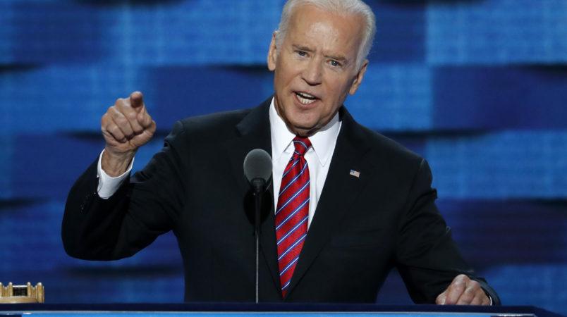 Vice President Joe Biden speaks during the third day of the Democratic National Convention in Philadelphia , Wednesday, July 27, 2016. (AP Photo/J. Scott Applewhite)
