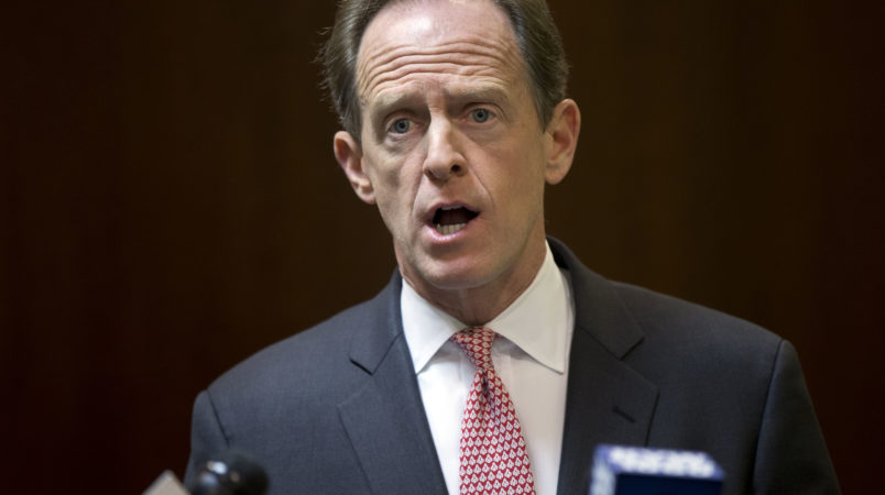 "Sen. Pat Toomey, R-Pa., speaks with members of the media during a news conference, Monday, May 9, 2016, in Philadelphia.  Toomey calls on Philadelphia to end its ""sanctuary city"" policy and begin cooperating with federal law enforcement officers in helping them find immigrants in the country illegally who are suspected of violent crimes. (AP Photo/Matt Rourke)"