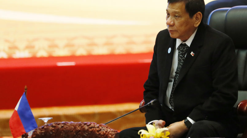 Philippine President Rodrigo Duterte sits for the retreat session in the ongoing 28th and 29th ASEAN Summits and other related summits at the National Convention Center Wednesday, Sept. 7, 2016 in Vientiane, Laos.(AP Photo/Bullit Marquez)