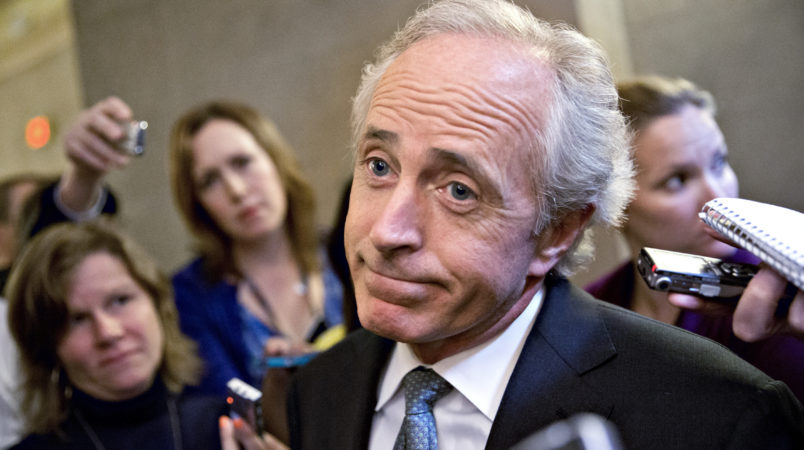FILE -- In this photo from Friday, Oct. 11, 2013, Sen. Bob Corker, R-Tenn., speaks to reporters on Capitol Hill in Washington about the government stalemate. Corker, chairman of the Senate Foreign Relations Committee, removed himself Wednesday from consideration as Donald Trump's vice-presidential running mate.   (AP Photo/J. Scott Applewhite, File)