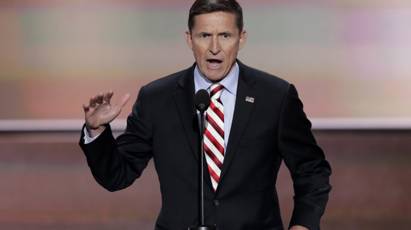 Lt. Gen. Michael Flynn, U.S. Army (ret), speaks during the opening day of the Republican National Convention in Cleveland, Monday, July 18, 2016. (AP Photo/J. Scott Applewhite)