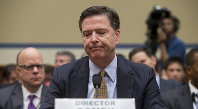 FBI Director James Comey testifies under oath before the House Oversight Committee to explain his agency's recommendation to not prosecute Hillary Clinton, now the Democratic presidential candidate, over her private email setup during her time as secretary of state, on Capitol Hill in Washington, Thursday, July 7, 2016. (AP Photo/J. Scott Applewhite)