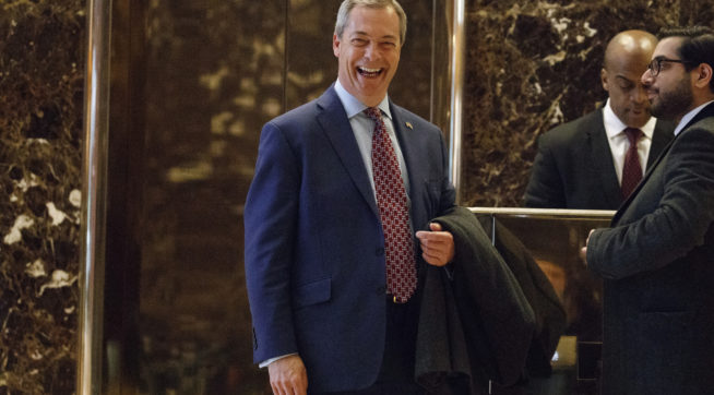 U.K. Independence Party leader Nigel Farage smiles as he arrives at Trump Tower, Saturday, Nov. 12, 2016, in New York. (AP Photo/ Evan Vucci)