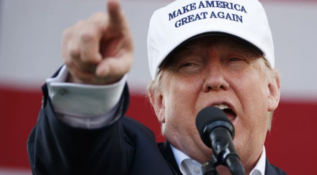 Republican presidential candidate Donald Trump speaks during a campaign rally, Wednesday, Nov. 2, 2016, in Miami. (AP Photo/ Evan Vucci)