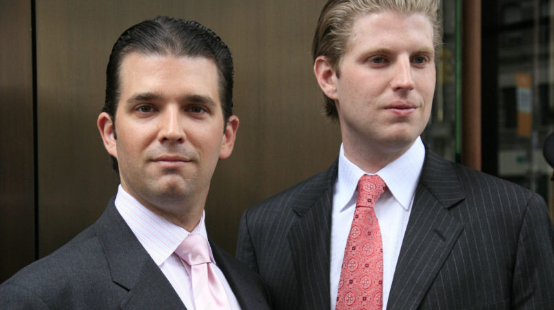 Donald Trump, Jr., left, and his brother Eric pose for photographers after attending the opening of the Trump SoHo New York, Friday, April 9, 2010. The 46 story hotel condominium has 391 units. (AP Photo/Mark Lennihan)