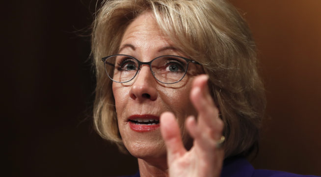 Education Secretary-designate Betsy DeVos testifies on Capitol Hill in Washington, Tuesday, Jan. 17, 2017, at her confirmation hearing before the Senate Health, Education, Labor and Pensions Committee. (AP Photo/Carolyn Kaster)