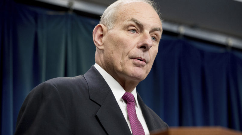 Homeland Security Secretary John Kelly speaks at a news conference at the U.S. Customs and Border Protection headquarters  in Washington, Tuesday, Jan. 31, 2017, to discuss the operational implementation of the president's executive orders. (AP Photo/Andrew Harnik)