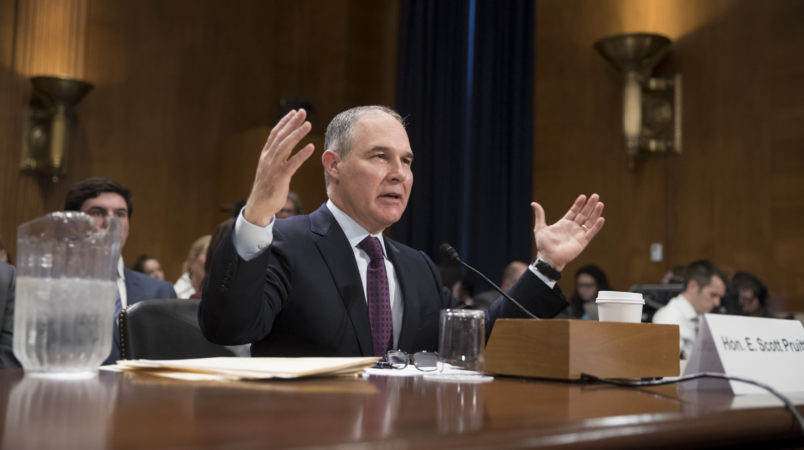 Scott Pruitt, President-elect Donal Trump's nominee to run the Environmental Protection Agency, testifies at his confirmation hearing before the Senate Environment and Public Works Committee on Capitol Hill in Washington, Wednesday, Jan. 18, 2017. The nomination of Pruitt, currently Oklahoma's attorney general, to lead the EPA is being fiercely opposed by environmental groups that point to fundraising ties with corporations he has sued to protect. (AP Photo/J. Scott Applewhite)