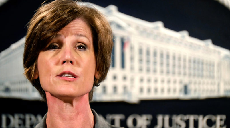 Deputy Attorney General Sally Yates announces a settlement with Volkswagen during a press conference at the Justice Department Tuesday, June 28, 2016. (AP Photo/J. David Ake)