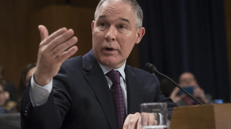 Environmental Protection Agency Administrator-designate, Oklahoma Attorney General Scott Pruitt testifies on Capitol Hill in Washington, Wednesday, Jan. 18, 2017, at his confirmation hearing before the Senate Environment and Public Works Committee.  (AP Photo/J. Scott Applewhite)