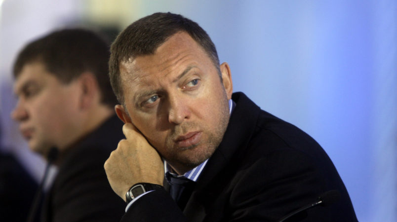 "Billionaire Oleg Deripaska attends an investment forum in Moscow, Russia, Wednesday, Sept. 30, 2009. Russian Prime Minister Vladimir Putin told participants at the ""Russia Calling!"" forum, sponsored by state-owned bank VTB, that ""we plan to consistently and purposefully reduce state intervention in the economy and, moreover, step up privatization processes."" (AP Photo/Sergey Ponomarev)"