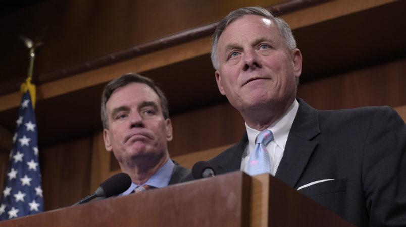 Senate Select Committee on Intelligence Chairman Sen. Richard Burr, R-N.C., and Vice Chairman Sen. Mark Warner, D-Va., speak during a news conference on Capitol Hill in Washington, Wednesday, March 29, 2017, on the Committee's investigation of Russian interference in the 2016 election. (AP Photo/Susan Walsh)