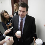 House Intelligence Committee Chairman Devin Nunes, R-Calif., is questioned by reporters on Capitol Hill on the ouster of Michael Flynn, President Trump's national security adviser, in Washington, Tuesday, Feb. 14, 2017.    (AP Photo/J. Scott Applewhite)