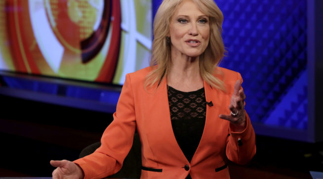 "Counselor to the President Kellyanne Conway is interviewed by Howard Kurtz during a taping of his ""MediaBuzz"" program on the Fox News Channel, in New York Friday, March 10, 2017. (AP Photo/Richard Drew)"