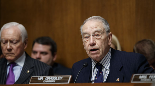 Senate Judiciary Committee Chairman Chuck Grassley R-Iowa joined at left by Sen. Orrin Hatch R-Utah opens a confirmation hearing for federal prosecutor Rod Rosenstein to be deputy attorney and Rachel Brand to be associate attorney general on Capitol
