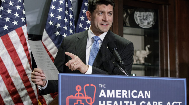 Speaker of the House Paul Ryan, R-Wis., faces reporters as the GOP works on its long-awaited plan to repeal and replace the Affordable Care Act, during a news conference at Republican National Committee Headquarters on Capitol Hill in Washington, Wednesday, March 8, 2017. (AP Photo/J. Scott Applewhite)Speaker of the House Paul Ryan, R-Wis., Majority Leader Kevin McCarthy, R-Calif., Majority Whip Steve Scalise, R-La., Rep. Cathy McMorris Rodgers, R-Wash., chair of the Republican Conference,