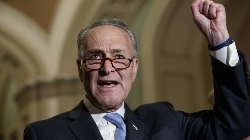Senate Minority Leader Chuck Schumer, D-N.Y., meets with reporters on Capitol Hill before President Donald Trump's speech to the nation, in Washington, Tuesday, Feb. 28, 2017. Referring to Trump, Schumer said it was amazing in a month how incompetent this administration has been. (AP Photo/J. Scott Applewhite)