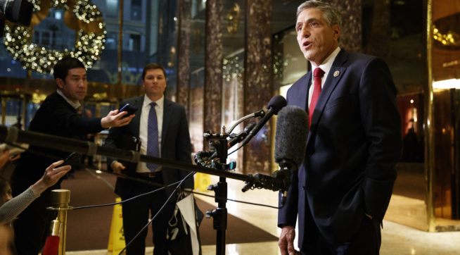 Rep. Lou Barletta, R-Pa., talks with reporters after a meeting with President-elect Donald Trump at Trump Tower, Tuesday, Nov. 29, 2016, in New York. (AP Photo/Evan Vucci)