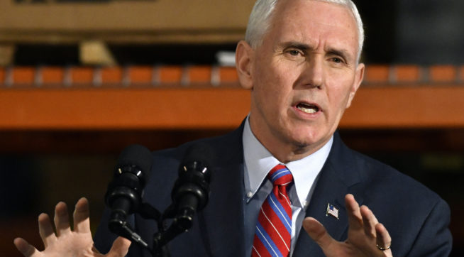 Vice President Mike Pence speaks at a rally to gather support for the Republican plan for the repeal and replacement of the Affordable Care Act at the Trans Parts and Distribution Center, Saturday, March 11, 2017, in Louisville, Ky. (AP Photo/Timothy D. Easley)