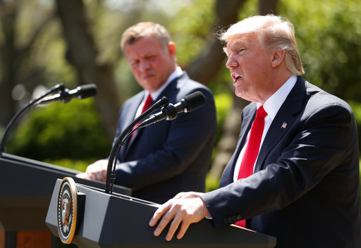 President Donald Trump and Jordan's King Abdullah II hold a news conference in the Rose Garden at the White House, Wednesday, April 5, 2017, in Washington. (AP Photo/Andrew Harnik)
