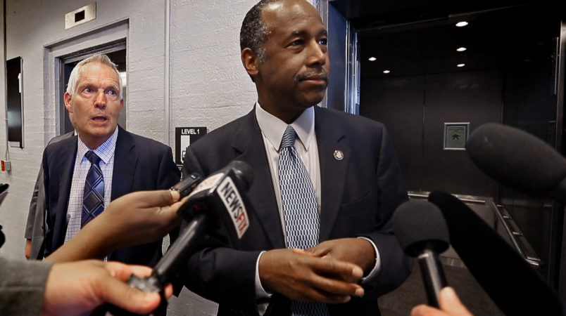 HUD Secretary Ben Carson, meeting the media briefly before his departure, toured the Hunter Plaza Apartments in downtown Fort Worth, Wednesday, March 29, 2017.
