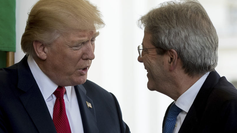 President Donald Trump greets Italian Prime Minister Paolo Gentiloni as he arrives at the West Wing of the White House in Washington, Thursday, April 20, 2017. (AP Photo/Andrew Harnik)
