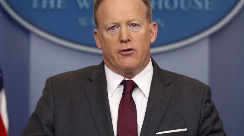 White House Press secretary Sean Spicer speaks to the media during the daily briefing in the Brady Press Briefing Room of the White House, Monday, April 24, 2017. (AP Photo/Pablo Martinez Monsivais)