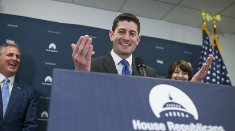 UNITED STATES - APRIL 26: Speaker Paul Ryan, R-Wis., conducts a news conference after a meeting of the House Republican Conference in the Capitol on April 26, 2017. House Majority Leader Kevin McCarthy, R-Calif., and Rep. Cathy McMorris Rodgers, R-Wash., also appear. (Photo By Tom Williams/CQ Roll Call)