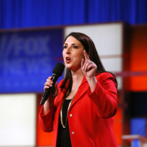 Ronna Romney McDaniel, the Michigan Republican Party chair, speaks before a Republican presidential primary debate at Fox Theatre, Thursday, March 3, 2016, in Detroit. (AP Photo/Paul Sancya)