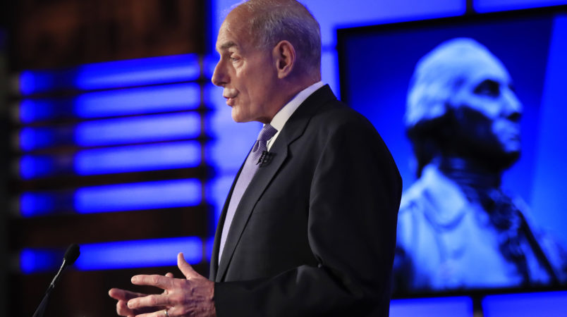 "Department of Homeland Security Secretary John Kelly speaks during a forum ""Home & Away: Threats to America and the Department of Homeland Security response"" at George Washington University in Washington, Tuesday, April 18, 2017.  (AP Photo/Manuel Balce Ceneta)"