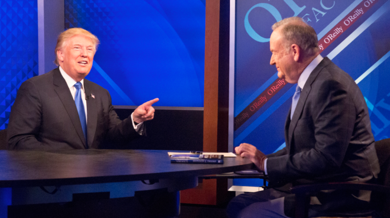 Trump speaks during an interview withBill O'Reilly on Fox NewsFriday Nov. 6 2015 in New York