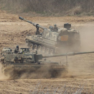 South Korean army K-9 self-propelled howitzers move during the annual exercise in Paju, South Korea, near the border with North Korea, Saturday, April 29, 2017. A North Korean mid-range ballistic missile apparently failed shortly after launch Saturday, South Korea and the United States said, the third test-fire flop just this month but a clear message of defiance as a U.S. supercarrier conducts drills in nearby waters. (AP Photo/Ahn Young-joon)