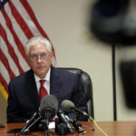 Secretary of State Rex Tillerson speaks to the news media at the Palm Beach International Airport, Thursday, April 6, 2017, in West Palm Beach, Fla.  (AP Photo/Lynne Sladky)