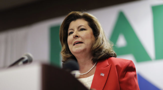 Republican candidate for Georgia's Sixth Congressional seat Karen Handel speaks at an election night watch party in Roswell, Ga., Tuesday, April 18, 2017. Republicans are bidding to prevent a major upset in a conservative Georgia congressional district Tuesday where Democrats stoked by opposition to President Donald Trump have rallied behind a candidate who has raised a shocking amount of money for a special election. (AP Photo/David Goldman)