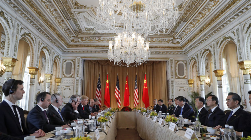 President Donald Trump and Chinese President Xi Jinping have a bi-lateral meeting at Mar-a-Lago, Friday, April 7, 2017, in Palm Beach, Fla. (AP Photo/Alex Brandon)