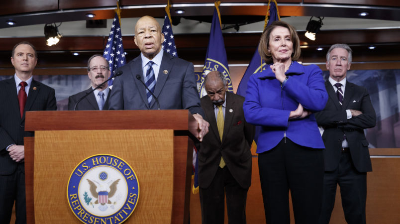 Top House Democrats, from left, Rep. Adam Schiff, D-Calif., ranking member of the House Permanent Select Committee on Intelligence, Rep. Eliot L. Engel, D-N.Y., ranking member of the House Foreign Affairs Committee, Rep. Elijah Cummings, D-Md., ranking member of the House Oversight and Government Reform Committee, Rep. John Conyers, D-Mich., ranking member of the House Judiciary Committee, House Democratic Leader Nancy Pelosi of Calif., and Rep. Richard Neal, D-Mass., ranking member of the House Ways and Means Committee, say they want an investigation into President Donald Trump's relationship with Russia, including when Trump learned that his national security adviser, Michael Flynn, had discussed U.S. sanctions with a Russian diplomat, during a news conference on Capitol Hill in Washington, Tuesday, Feb. 14, 2017.    (AP Photo/J. Scott Applewhite)