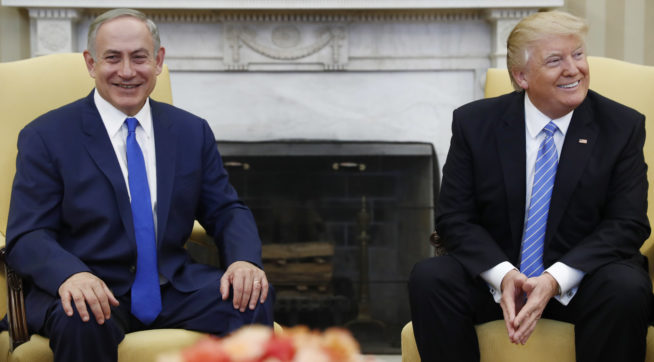 FILE - in this Wednesday, Feb. 15, 2017 file photo, US President Donald Trump and Israeli Prime Minister Benjamin Netanyahu meet in the Oval Office of the White House in Washington. Trump and Netanyahu said at their first joint news conference that they will seize what they believe is an opportunity for an ambitious Israeli-Arab peace deal. (AP Photo/Carolyn Kaster, File)